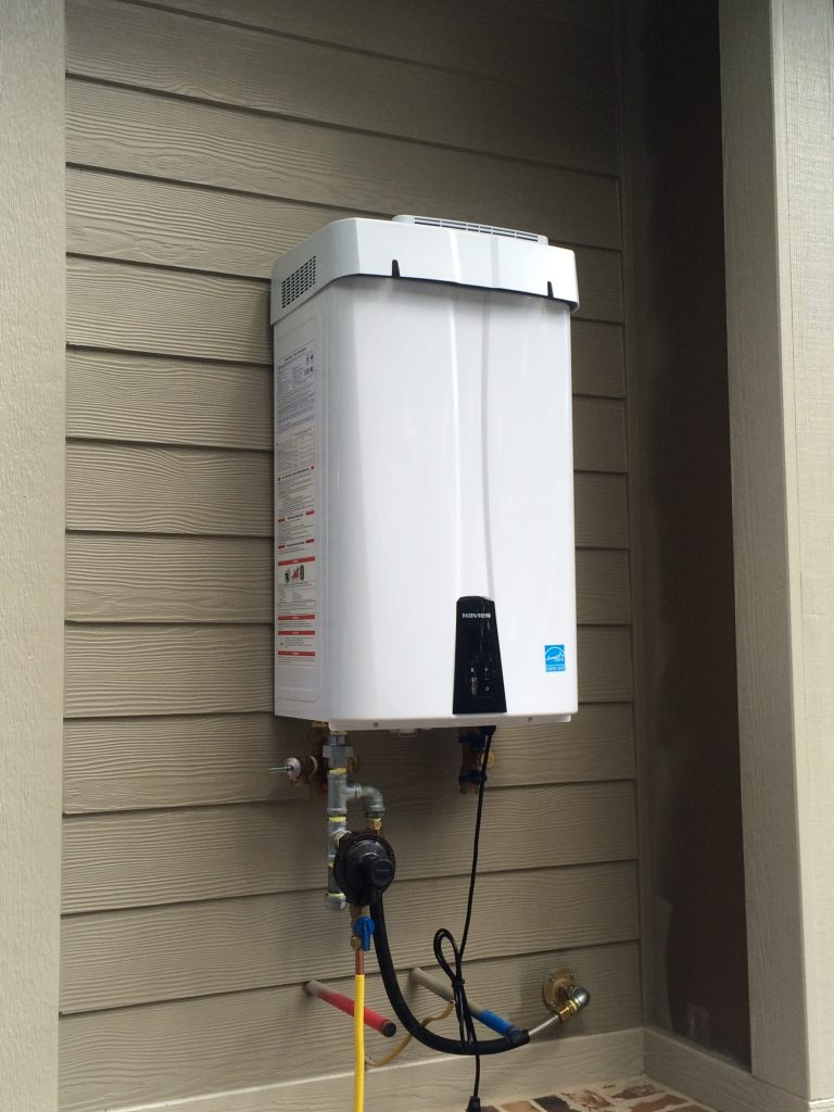 Navien 240s Tankless Water Heater residential installation.